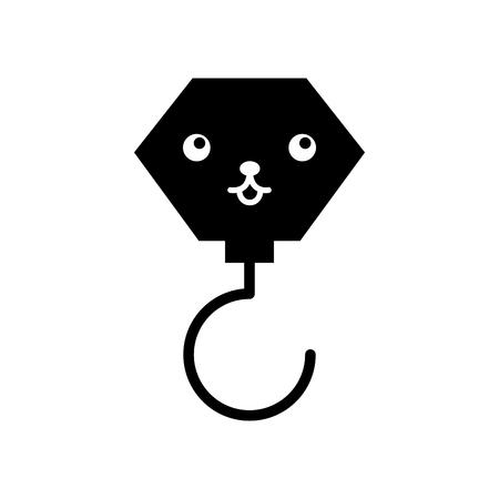 construction crane hook kawaii character vector illustration design