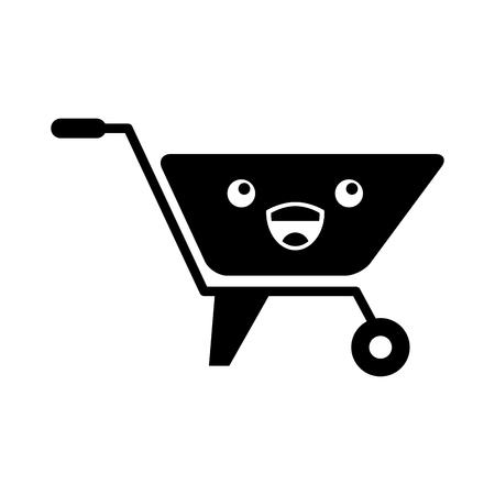 wheelbarrow construction kawaii character vector illustration design