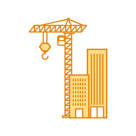 construction crane with buildings vector illustration design Illustration