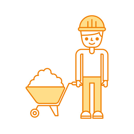 hauling: builder with wheelbarrow construction isolated icon vector illustration design