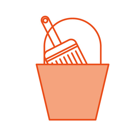 paint pot with brush vector illustration design