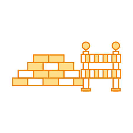 bricks wall with barrier vector illustration design