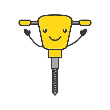 hydraulisch hamer kawaii karakter vector illustratie ontwerp