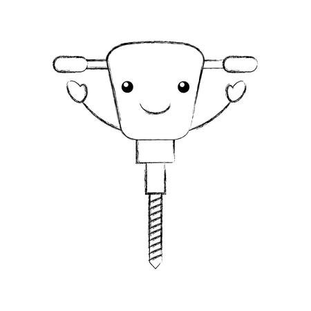 油圧ハンマー カワイイ文字ベクトル イラスト デザイン  イラスト・ベクター素材