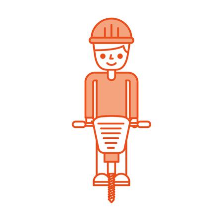 bouwer met hydraulische hamer geïsoleerd pictogram vector illustratie ontwerp Stock Illustratie