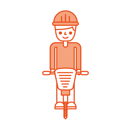 Builder avec disque hydraulique isolé icône du design illustration vectorielle Banque d'images - 84596734