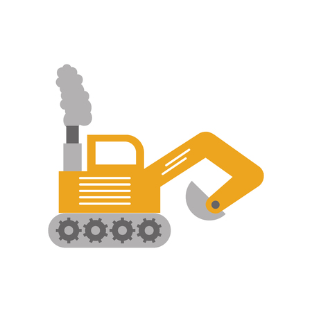 excavator construction vehicle isolated icon vector illustration design