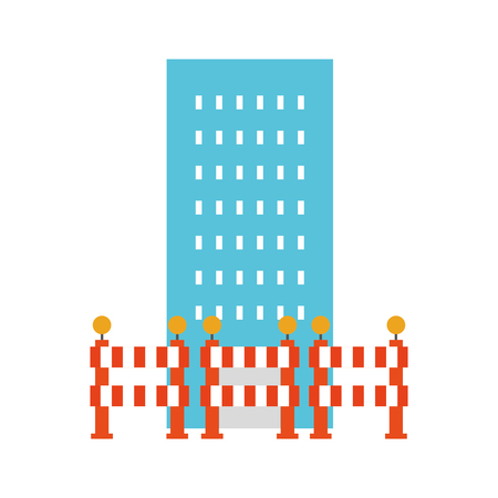 building construction with barriers vector illustration design Çizim