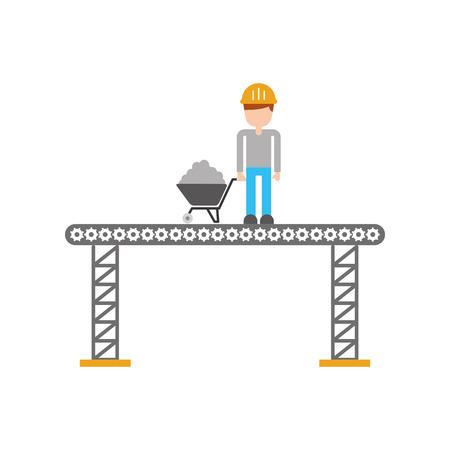 builder with wheelbarrow construction isolated icon vector illustration design