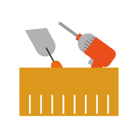 spatula and drill tools isolated icon vector illustration design Stock fotó - 84596999