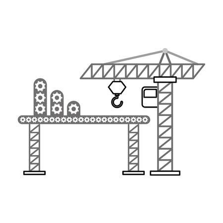 heavy metal: construction crane with transport band vector illustration design