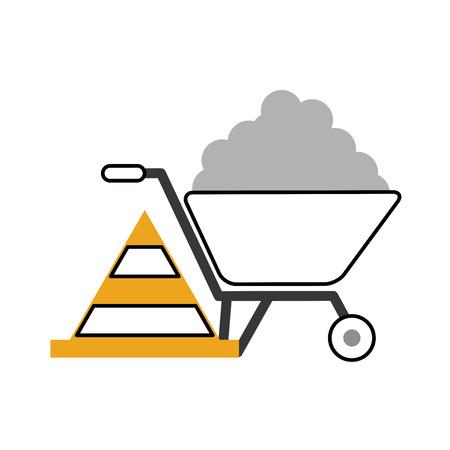wheelbarrow construction with cone vector illustration design