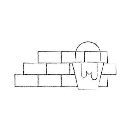 bricks wall with paint pot vector illustration design
