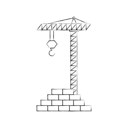 bricks wall with crane vector illustration design 向量圖像