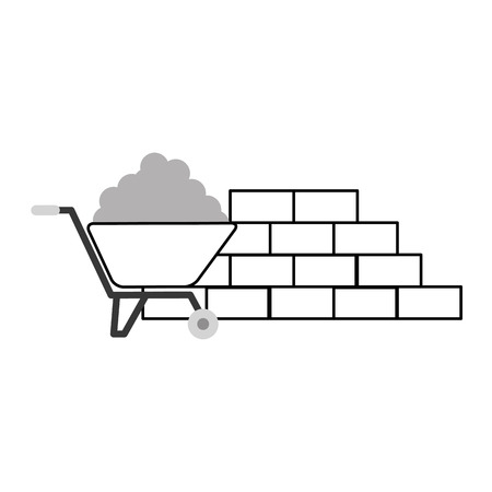 hauling: wheelbarrow construction with bricks wall vector illustration design