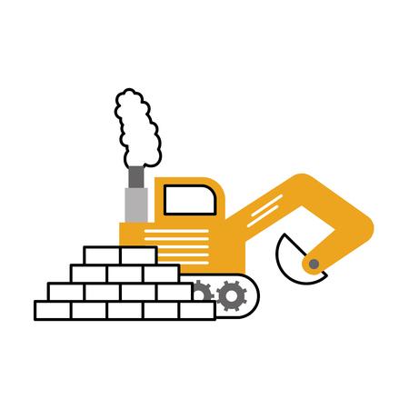 bricks wall with excavator vector illustration design Ilustrace
