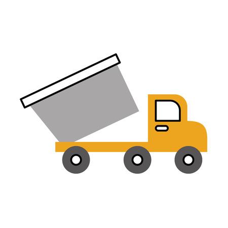 dump truck construction vehicle isolated icon vector illustration design