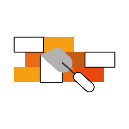 レンガ壁ベクトル イラスト デザインとヘラのツール