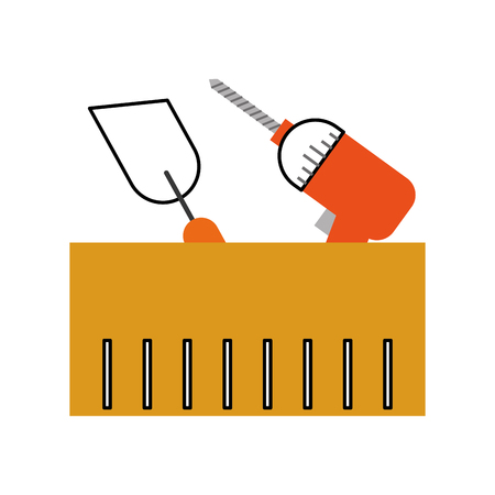 spatula and drill tools isolated icon vector illustration design