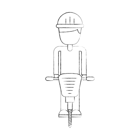 Constructeur avec marteau hydraulique icône isolée conception d'illustration vectorielle Banque d'images - 84597160