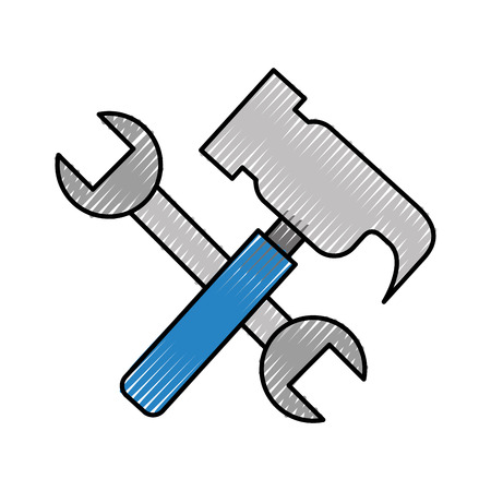 heavy metal: hammer and wrench tools vector illustration design