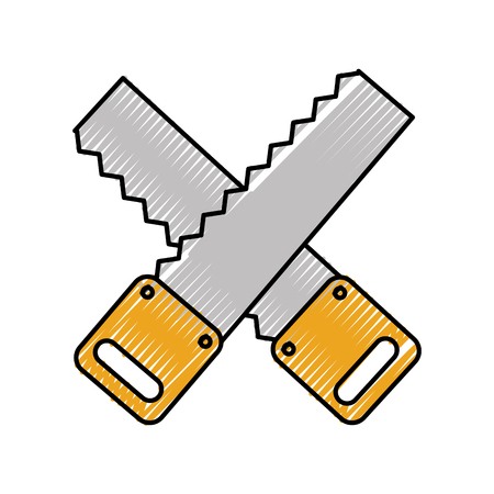 cross Woodworking saw isolated icon vector illustration design Stock Vector - 84597171