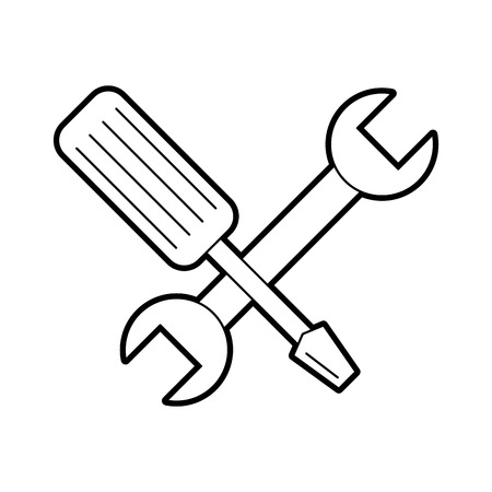 wrench and screwdriver isolated icon vector illustration design Stock Vector - 84597289