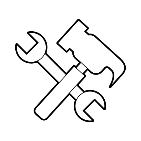 hammer and wrench tools vector illustration design