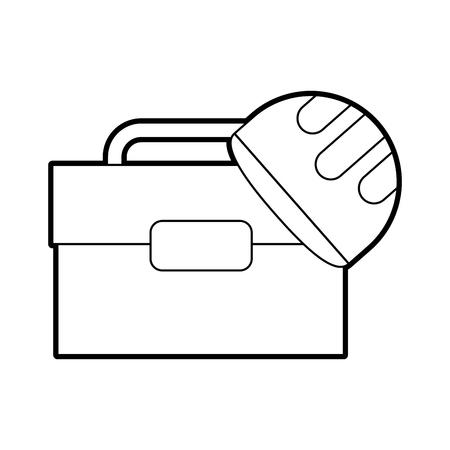 tool box with helmet vector illustration design Illustration