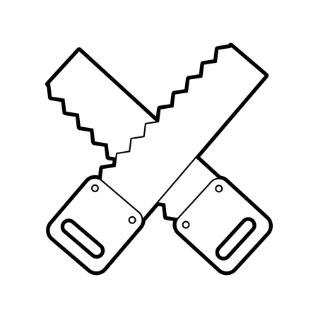 cross Woodworking saw isolated icon vector illustration design Stock Vector - 84597298