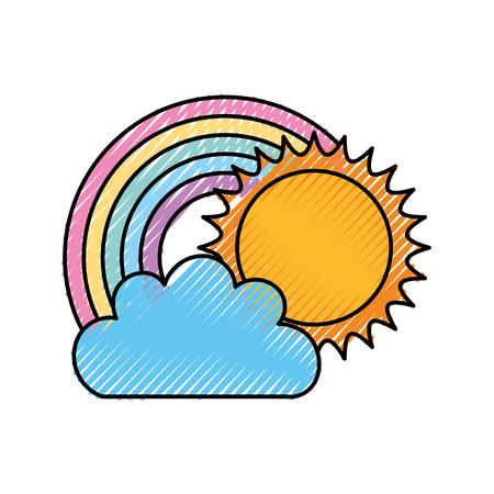 Beautiful fantasy cloud with sun and rainbows vector illustration design