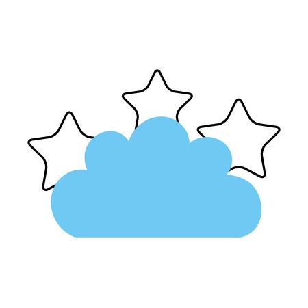 Beautiful fantasy cloud with stars vector illustration design