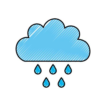 Beautiful fantasy cloud with rain drops vector illustration design