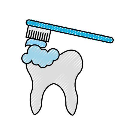 Human tooth with toothbrush vector illustration design