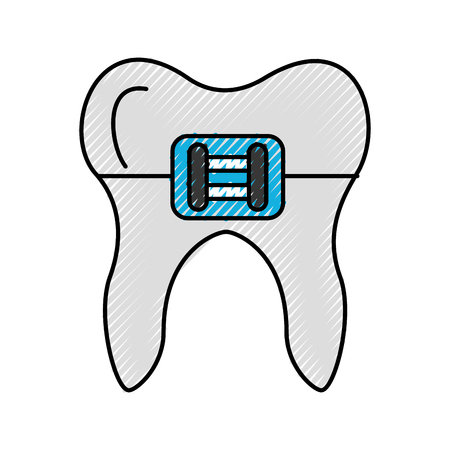 Human tooth with bracket vector illustration design