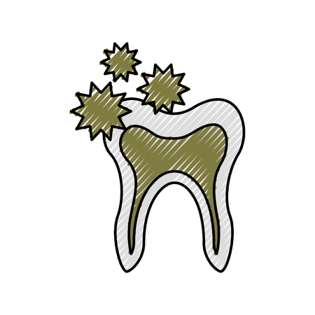 Human tooth with bacterium vector illustration design Illusztráció