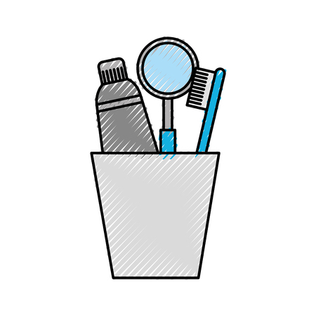 cup with toothbrush and toothpaste vector illustration design Illustration