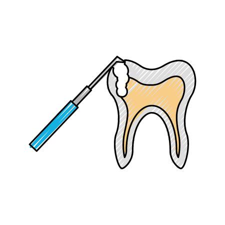 Human tooth with dental drill vector illustration design Illustration