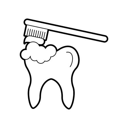 Menschlicher Zahn mit Zahnbürstenvektor-Illustrationsdesign Standard-Bild - 84599144