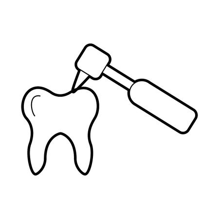 Diente humano con diseño de ilustración vectorial de perforación dental Foto de archivo - 84599153