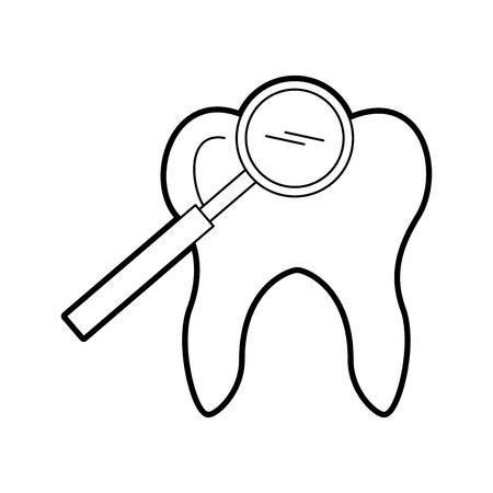Diente humano con diseño de ilustración de vector de lupa Foto de archivo - 84599154