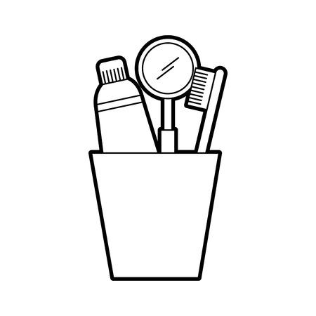 Taza con cepillo de dientes y pasta de dientes ilustración vectorial diseño Foto de archivo - 84599161