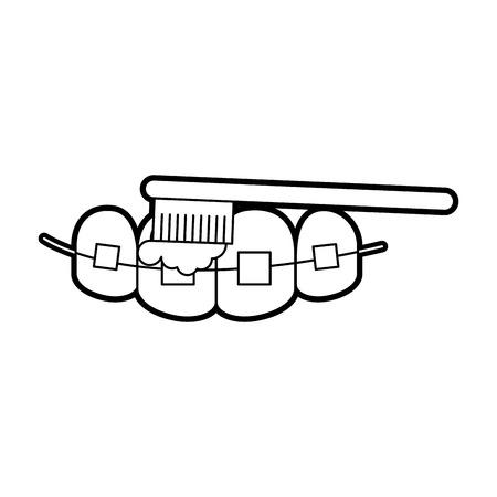Zahnpflege mit Zahnbürste Vektor-Illustration Design Standard-Bild - 84599168