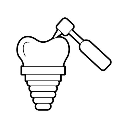 dental implant with drill vector illustration design Illustration