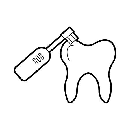 Menschlicher Zahn mit elektrischem Vektorillustrationsdesign der Zahnbürste Standard-Bild - 84599171