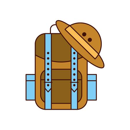 sac de camping avec safari chapeau illustration vectorielle design