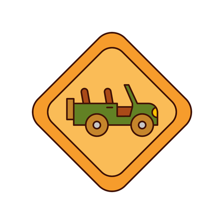 safari vehicle road sign vector illustration design