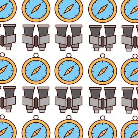 Kompass Guide und Fernglas Muster Vektor Illustration Design Standard-Bild - 84599292