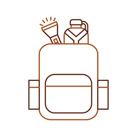 comedor escolar: bolsa de camping con cantina y linterna ilustración vectorial diseño Vectores
