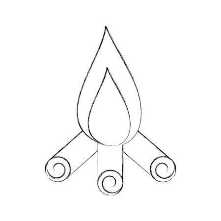 Feu de camp isolé icône illustration d'illustration vectorielle Banque d'images - 84599507